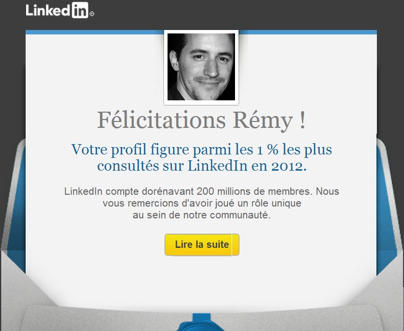 Mail marketing génial de Linkedin