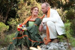 Robe de mariée verte